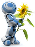 Robot with a sunflower Royalty Free Stock Images