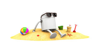Robot in sunglasses sunbathe Royalty Free Stock Photos