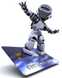 Robot surfing on credit card Royalty Free Stock Photo
