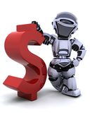 Robot with symbol. 3d render of a robot with a symbol Stock Photo