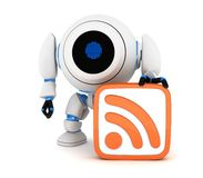Robot and symbol RSS Royalty Free Stock Image