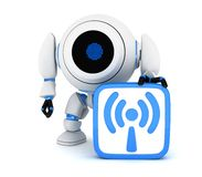 Robot and symbol Wi-Fi. (done in 3d Stock Photo