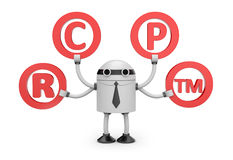 Robot with symbols Royalty Free Stock Images
