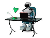 Robot at the table Stock Images