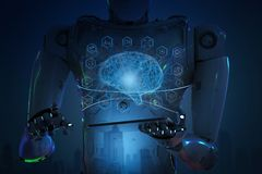 Robot with tablet. 3d rendering humanoid robot holding tablet with ai brain royalty free stock image