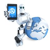 Robot with tablet phone. Global communication concept. Isolated. Contains clipping path. Robot with tablet phone and earth globe. Global communication concept Stock Images