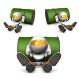 A robot taking a break. It seems that he has run out of fuel. Royalty Free Stock Image