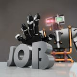 Robot taking `job` word. Black robot taking `job` word, creating unemployment, 3d rendering Stock Photography