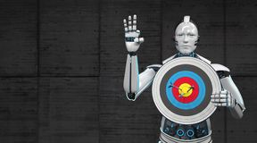 Robot Target. A robot with the target shows that all arrows are direct hits royalty free stock photography