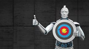 Robot Target OK. A robot with the target shows that all arrows are direct hits stock images