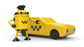 Robot taxi driver Stock Images
