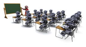 Robot teacher in classroom Royalty Free Stock Photo