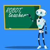 Robot Teacher Writes On Blackboard Vector. Isolated Illustration. Robot Teacher Writes On Blackboard Vector. Illustration stock illustration