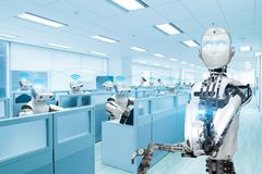 Robot team working in the office, Future technology concept.  stock illustration