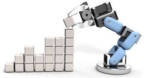 Robot technology business data chart. Robotic arm building technology business growth data chart royalty free illustration
