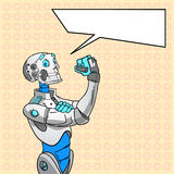 Robot Technology We Can Do It Chat Bubble Pop Art. Colorful Retro Style Concept Feminism Vector Illustration Royalty Free Stock Photos