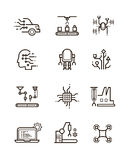 Robot technology and robotic machinery line vector icons. Artificial intelligence symbols stock illustration