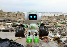 Robot technology to collect black garbage bag instead. Of humans royalty free stock photo