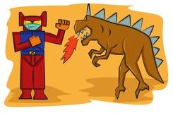 Robot tegenover Monster Toy Cartoon Stock Fotografie