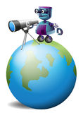 A robot with a telescope above the planet earth Stock Photo