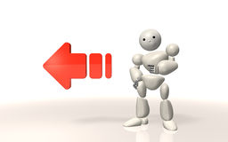 Robot tell to the left. Royalty Free Stock Photography