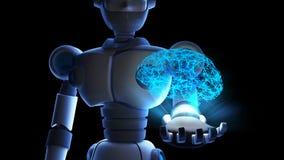 Robot tenant l'esprit humain dans l'affichage virtuel d'isolement sur la binaire illustration libre de droits