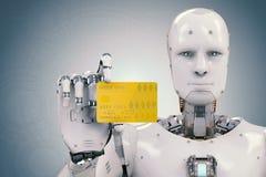Robot tenant la carte de crédit illustration de vecteur