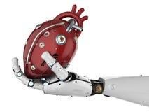 Robot tenant le coeur Photo stock