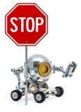 Robot tenant le signe en métal avec le texte Photographie stock