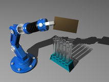 Robot with test-tube. 3D model robot with visiting card and test-tube Royalty Free Illustration