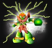 Robot Thai Giant cartoon character design number 1. Robot Thai giant green and red color character design number 1, His action is blackjack fighting background Stock Photo