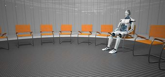 Robot therapy session. A humanoid robot sits in a futuristic room during a therapy session vector illustration