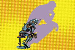 Robot thinker with the shadow of a man. Progress and humanity. Pop art retro vector illustration stock illustration