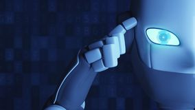 Robot thinking isolated on blue. Finger touching the head. royalty free illustration
