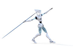 Robot Throwing a Javelin. 3d render of a robot preparing to throw a javelin against a white background Royalty Free Stock Image