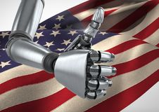 Robot with thumbs up against american flag Stock Images