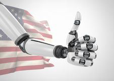 Robot with thumbs up  against american flag Stock Photos