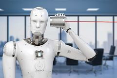 Robot with tin can. Communication technology concept with 3d rendering robot holding tin can phone Stock Photos