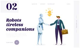 Robot Tireless Companion Landing Page. Intrinsic Motivation Push Machine to Search for Novelty, Challenge, Compression or Learning. Progress Website or Web Page vector illustration