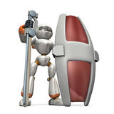 Robot to the defense impregnable Royalty Free Stock Photo
