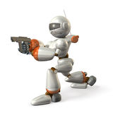 Robot to determine the aim of handgun. Robot is holding a handgun. , computer generated image Royalty Free Stock Photo