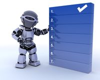 Robot with a to do list Royalty Free Stock Images