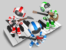 Robot to play the guitar. 3D Robot Character Royalty Free Stock Images