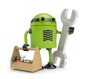 Robot with toolbox Royalty Free Stock Photography