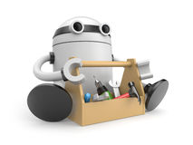 Robot with toolbox Stock Image