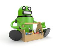 Robot with toolbox Stock Photography
