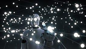 Robot touchant le symbole Mondial de la monnaie, points de rassemblement pour créer une monnaie, fait une carte du monde, 1 banque de vidéos