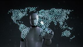 Robot touching Dollar currency, dots gather to create a Euro currency sign, dots makes global world map,1. Robot touching currency, Numerous dots gather to stock video