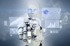 Robot and  touchscreen Royalty Free Stock Images