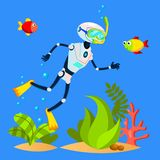 Robot Tourist Swimming Among Fish With Diving Mask Vector. Isolated Illustration. Robot Tourist Swimming Among Fish With Diving Mask Vector. Illustration royalty free illustration